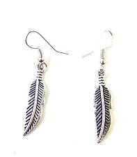 Silver Metal Feather Leaf Drop Earrings Boho Statement Vintage Hook Dangle 1069