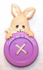 Morgan 1988 Pin Enesco Easter Bunny Rabbit Peeking Over a Big Button Sooo Cute!