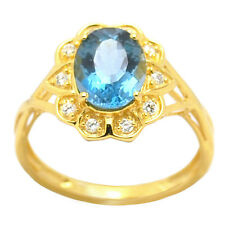 De Buman 2.48ctw London Blue Topaz Solid 18KY Plated & 925 Ring Size 7