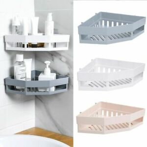 Self Adhesive Bathroom Corner Shelf Rack Wall Mounted Shower Storage Organizer