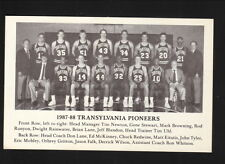 Translyvania Pioneers--1987-88 Basketball Pocket Schedule