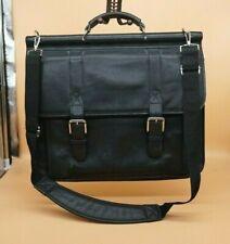 Wilsons Leather Pelle Studio Black Business Briefcase Messenger Bag Buckle Strap