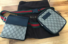 100% AUTH GUCCI GG LEATHER TWO-POUCH WAIST BELT BAG FANNY PACK BUM BAG