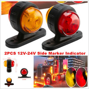 12V-24V Car Trucks Grille Strobe Lights Side Marker Flash Warning Red+Amber Lamp