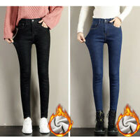 Womens Winter Thermal Warm Fleece Lined High Waist Jeans Trousers Denim Pants