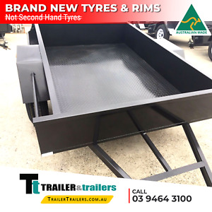 8x5 SINGLE AXLE HEAVY DUTY BOX TRAILER   FIXED FRONT CHECKER PL FLOOR- NEW TYRES