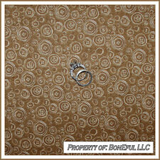 BonEful Fabric FQ Cotton Quilt Brown VTG Sewing Button Sew Cream Calico Tweed US