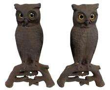 Antique Pair Country Cast Iron Owl Glass Eyes Fireplace Andirons Howes Foundry?