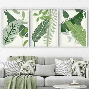 Set of 3 FRAMED Prints Tropical Monstera Art Prints Botanical Green Deco Set 1