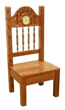 Children's Furniture - Child's Oak Time Out Chair with Clock - Amish made in Usa