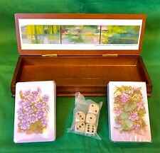 Readers Digest Diane Burko Mai, Giverny Wooden Game Box. 2 Card Decks & 5 Dice