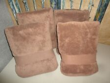 NINA CAMPBELL CHOCOLATE MOCHA BROWN THICK COTTON TERRY (4PC) BATH TOWELS 28 X 50