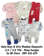 BABY WADDED SLEEPSUIT QUILTED 2.5 TOG BOYS GIRLS EX UK STORE 0-36M SLEEP SUITS