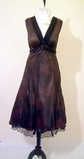 Genuine Designer Black / Chocolate Silk Prom / Party Dress by Noli, Size UK 14