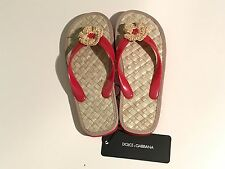 NEW Dolce & Gabbana D&G Girl Red Kids Flower SANDALS LDFZIA Eur 35 US 3 RTL $145