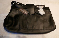 BAG LEATHER ROSA BENINI HAND SINGLE CENTRE ZIP FRONT & REAR POUCHES DARK BROWN