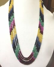 5 Strand Royal Natural Multi Sapphire,Ruby,Emerald Faceted Gemstone Necklace 18'
