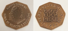 1940's GOOD LUCK PIECE Brass Token: Always Carry Me; Home of Health-O-Products