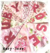 Baby Girl Personalised Name BUNTING LUXURY Fabric Florals baby PINK Cath Kidston
