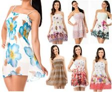 Womens Mini Dress T-Shirt Strappy Tops Sleeve Summer Sundress Ladies Girls