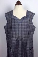 Antique 40s French Checked Work Wear Chore Dress Pinafore Deadstock Vtg Preppy