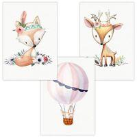 3er Set Wandbilder Baby Kinderzimmer Deko Poster Kunstdruck DIN A4 Cute Boho Reh