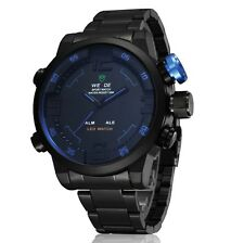Weide Army Men Quartzs Watches Wristwatches Led Display Black Stainless Steel