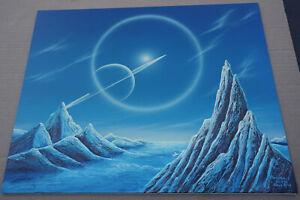 1974 Morris Scott Dollens Painting Atmospheric Ring On Titan Sci-Fi Space Art