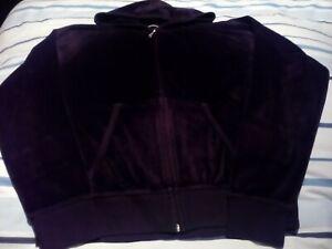M&S Velour Top Velvet Zip Black Hoodie Sweatshirt Size 14 In great condition!!