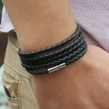 Men Black Leather Multilayer Punk Bracelet Braided Bangle Wristband Bracelets