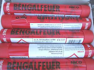 Bengalfeuer/Nicofeuérwerk/ Bengalos in Rot-Blink-Stobe/5 Stk