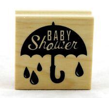 Baby Shower Umbrella Wood Mounted Rubber Stamp Inkadinkado NEW birth boy girl