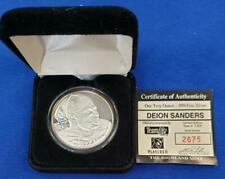The Highland Mint 1 ozt .999 Silver DEION SANDERS Medallion 2675/7500 caps L8203