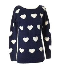 Express sweater womens 💕 hearts 💕 navy blue wool blend crew neck, Small
