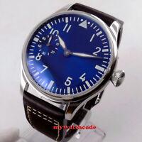 44mm PARNIS blue dial luminous ST3600 hand winding 6497 mechanical mens watch