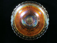 'Leaf in Base' - Imperial 'Grape' Marigold Carnival Glass Scalloped Edge Bowl