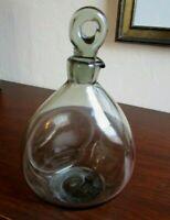 Vtg Per Lutken for Holmegaard Smoked Gray Pinched Glass Decanter, Danish MCM