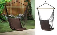 Espresso Cotton Padded Swing Chair Matching Rope & Wooden Frame Indoor or Out