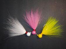 1 1/2 oz Wolf Custom Ball/ Round Bucktail jigs 3 pack Bass Flounder Snook Fluke