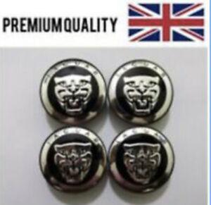 Set Of 4 Centre Caps For Jaguar - Black  Centre Caps - Fits Most Models