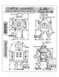 """Stempel Set """"Robots Blueprint"""" Tim Holtz, Zeichnung von Robotern, rubber stamp"""