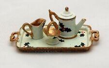 Dollhouse Miniature Xmas Tea Set Creamer Sugar Pot Tray Artisan Victoria Fasken