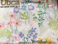 New listing Nos Vintage Utica Jp Stevens Twin Flat Sheet Happy Flowers Pattern Sealed Nip