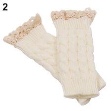 HK- Women Fingerless Lace Gloves Soft Knitted Warm Long Mitten Wrist Warmer Wint