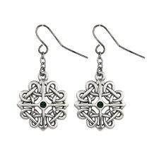 Celtic Knot Floral Pattern Dangling Earrings Pewter Jewelry 10053