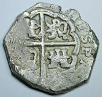 1600's Spanish Silver 2 Reales Cob Antique Colonial Two Bit Pirate Treasure Coin