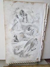 Vintage Print,LORDS PRAYER,Black+White Engraving
