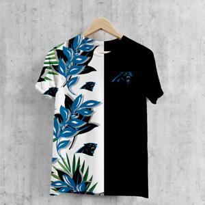 Carolina Panthers Men's Football T-Shirts Hawaiian Crew Neck Short Sleeve Tee