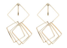 Clip On Earrings - gold plated dangle earring with four linked squares - Dea G