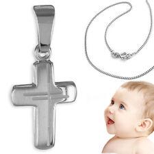 Kinder Taufkette Kommunion Dekor Kreuz Echt Gold Weißgold 333 mit Kette Silber